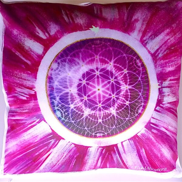 Coussin fleur de vie ouverture