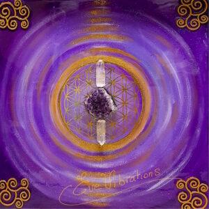 tableau harmonisation fleur de vie améthyste cristal de roche