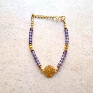Bracelet arbre de vie doré améthyste