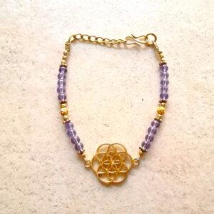bracelet graine de vie doré améthyste