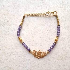 bracelet lotus doré améthyste