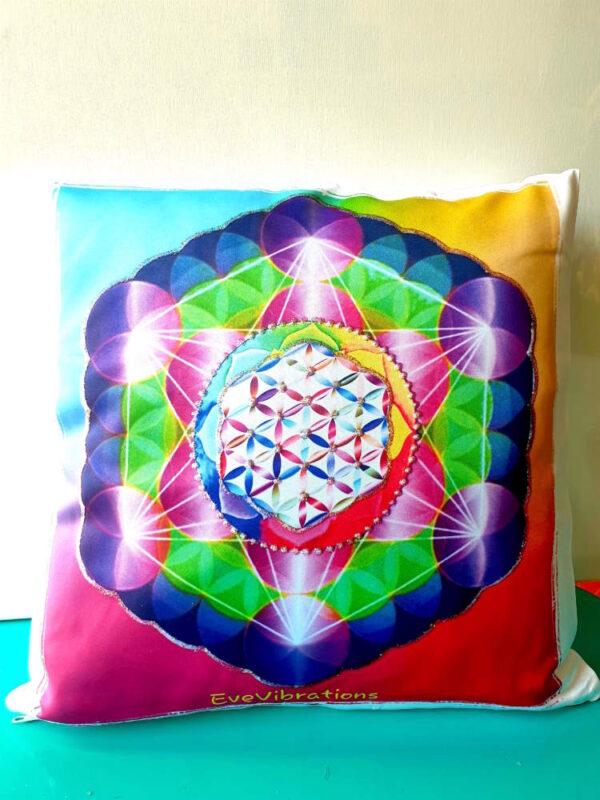 coussin géométrie cube métatron