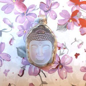 pendentif bouddha cristal argent