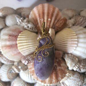 pendentif pierre améthyste laiton